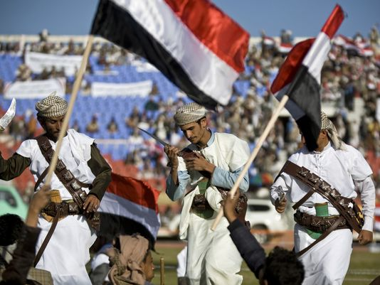 Supporters of Houthi Shiites, who took over the government of Yemen and installed a new committee to govern, wave traditional daggers and dance at a rally Feb. 7 in Sanaa, Yemen. (Photo: Hani Mohammed/AP)