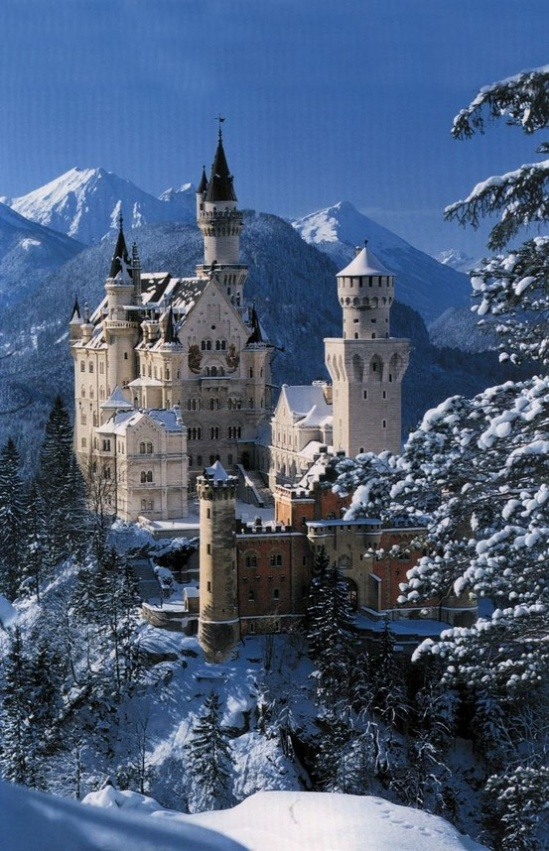 Neuschwanstein, in Bavaria, Germany, which served as Walt Disney's inspiration for the famous Sleeping Beauty castle.